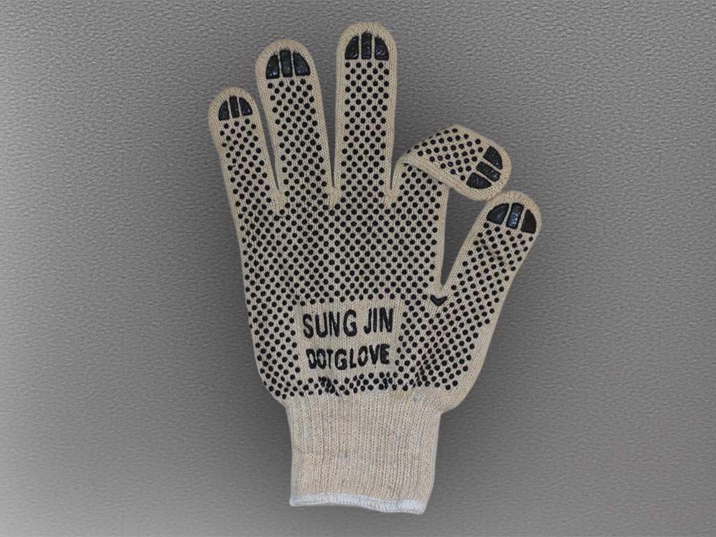 "Перчатки ХБ с двухсторонним ПВХ с логотипом ""SUNG JIN DOT GLOVE"""
