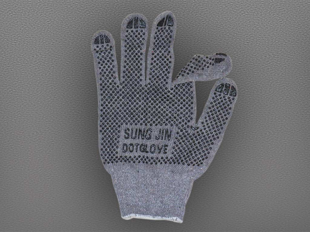 "Перчатки Х/Б с двухсторонним ПВХ с логотипом ""SUNG JIN DOT GLOVE"" серые"