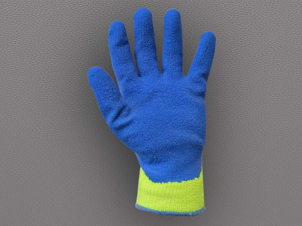 Перчатки акриловые с рифленым латексным покрытием (утепленные)