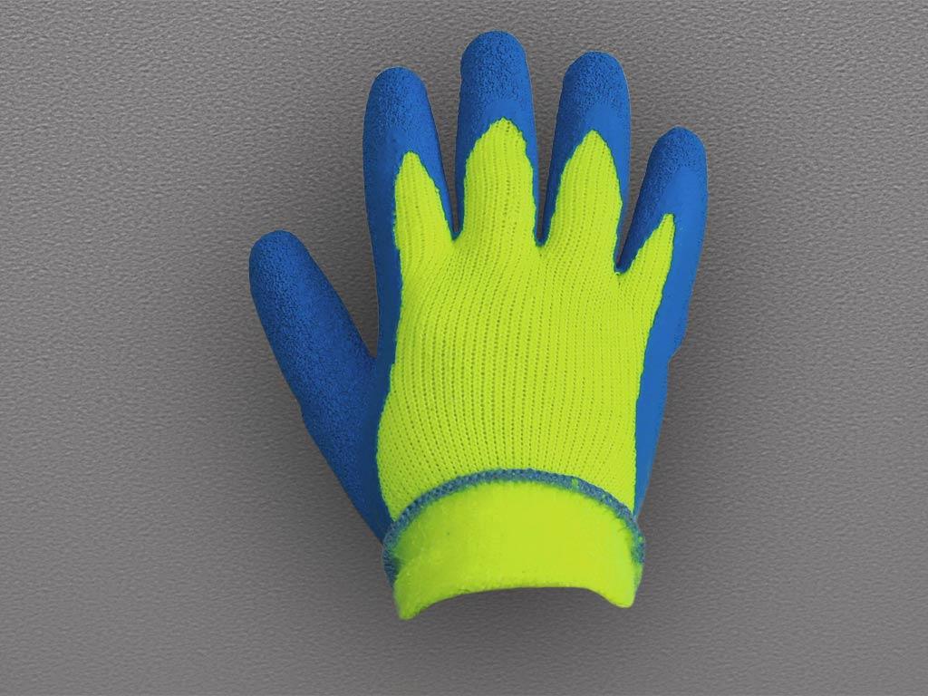 Перчатки акриловые с рифленым латексным покрытием (утепленные) 130 гр