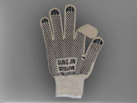 Перчатки хб с односторонним пвх с логотипом «SUNG JIN DOT GLOVE»