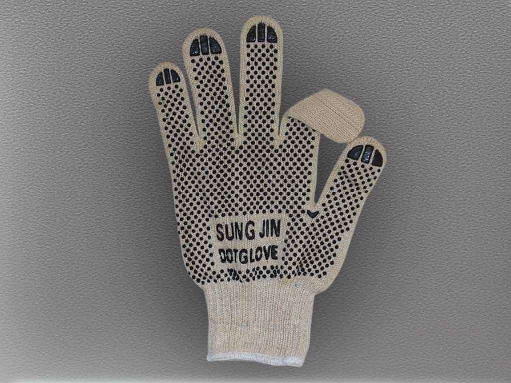 "Перчатки ХБ с односторонним ПВХ с логотипом ""SUNG JIN DOT GLOVE"""