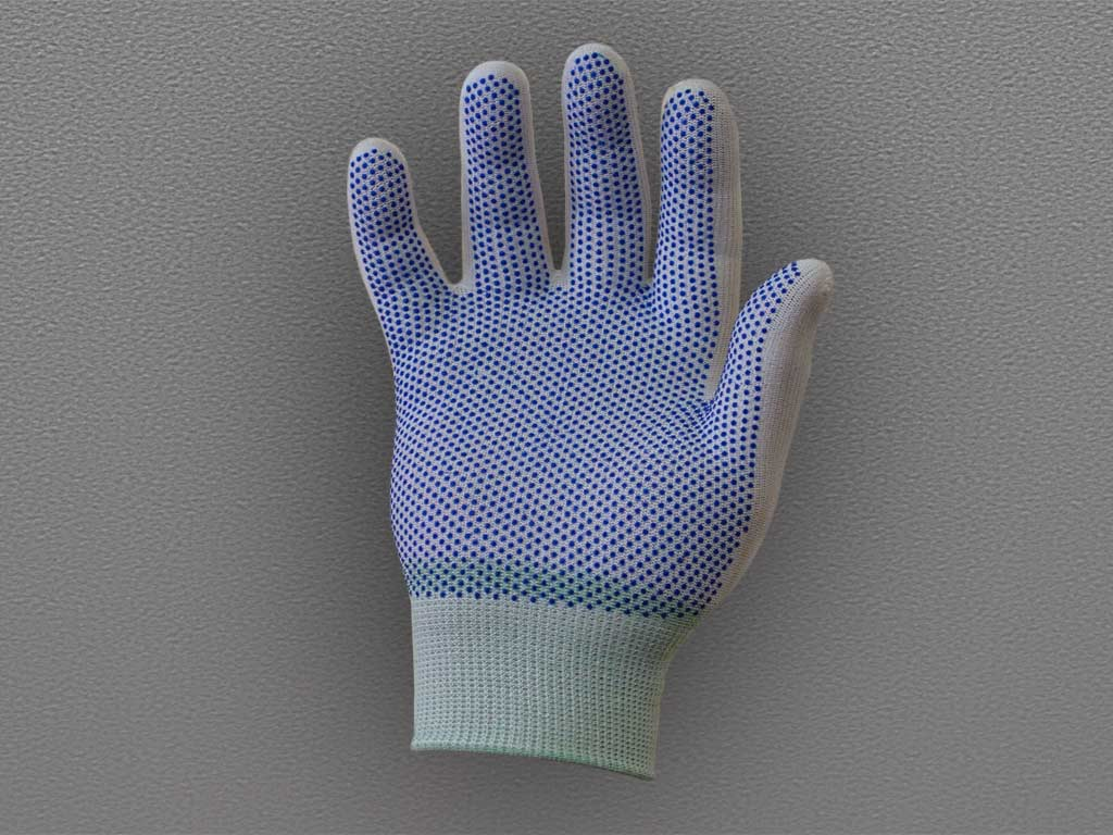 Перчатки нейлоновые антистатические с ПВХ – белые