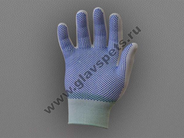 Перчатки нейлоновые антистатические с ПВХ - белые