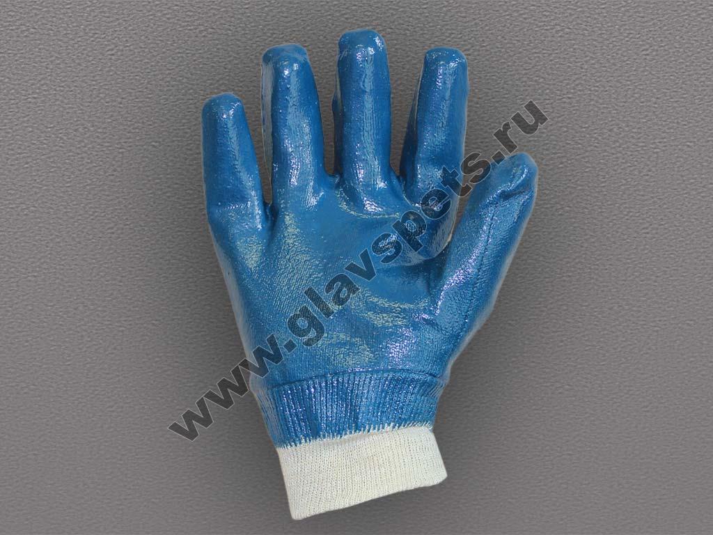 Перчатки с полным нитриловым покрытием, манжет-резинка