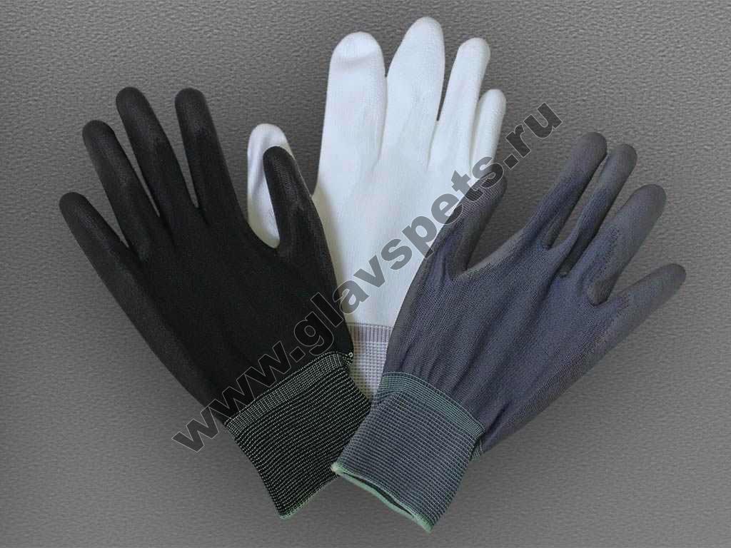 Перчатки нейлоновые антистатические с полиуретановым покрытием ладони
