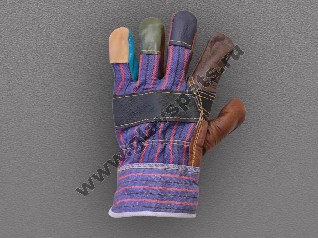 Перчатки кожаные комбинированные (Радуга)