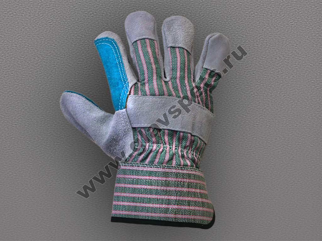 Перчатки спилковые комбинированные усиленная ладонь (Докер)