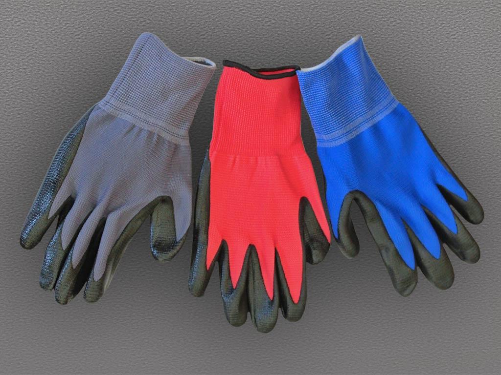 Перчатки нейлоновые с каучуковым покрытием