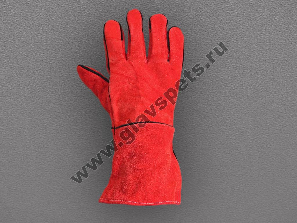 Краги спилковые красные пятипалые с подложкой  – Трек