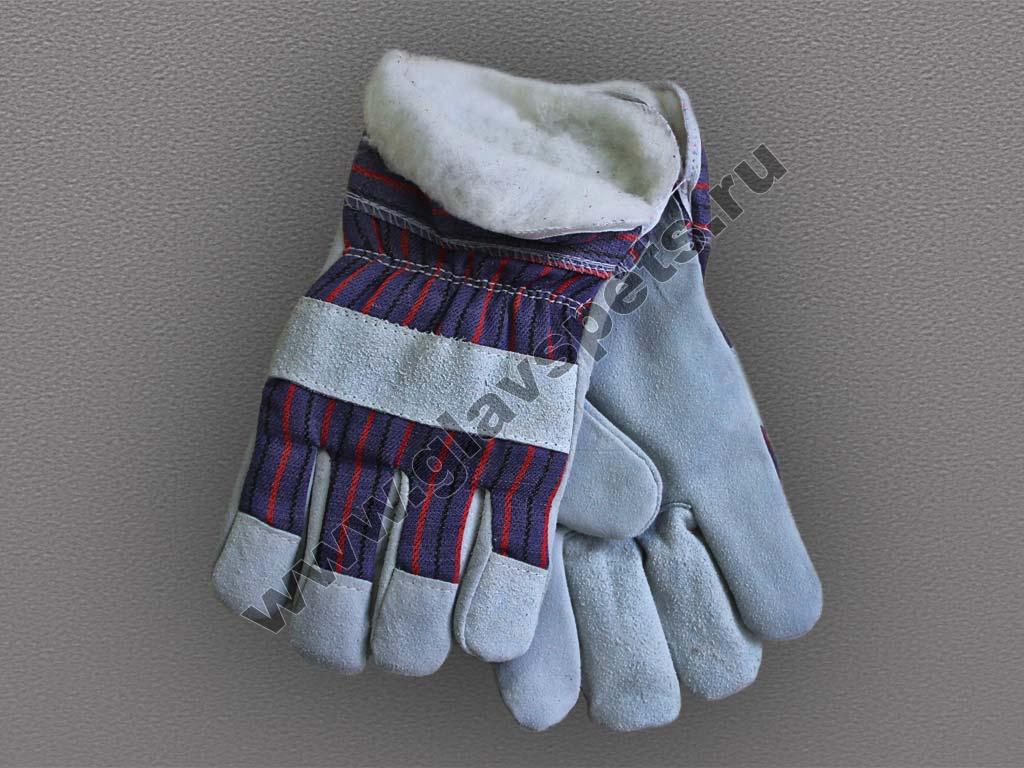 Перчатки спилковые комбинированные - утепленные (Ангара)