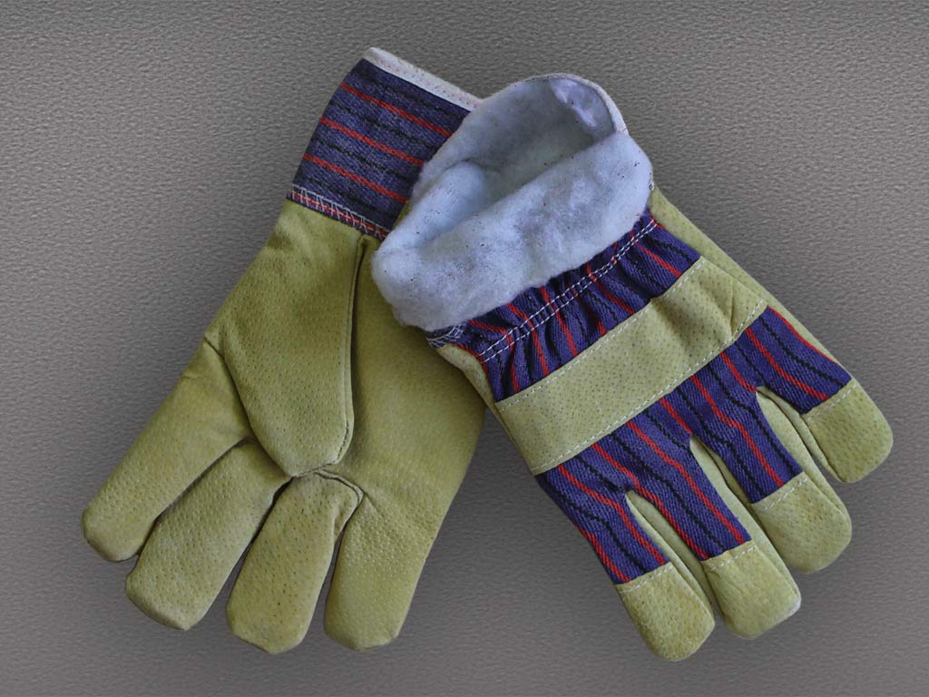 Перчатки спилковые комбинированные утепленные Ангара