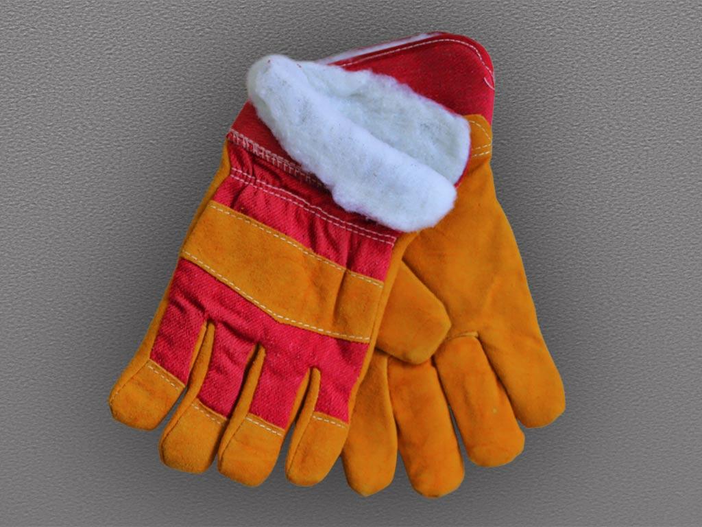 Перчатки спилковые комбинированные утепленные Русские Львы