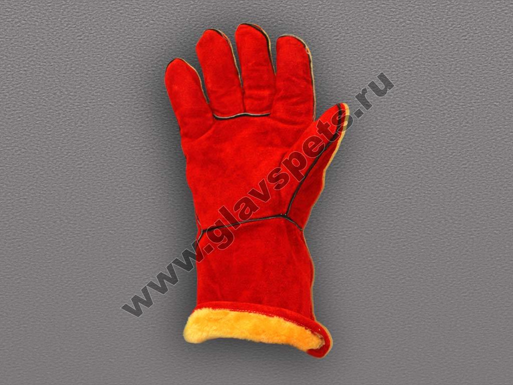Краги спилковые пятипалые красные с искусственным мехом тип ТРЕК XY075-Winter