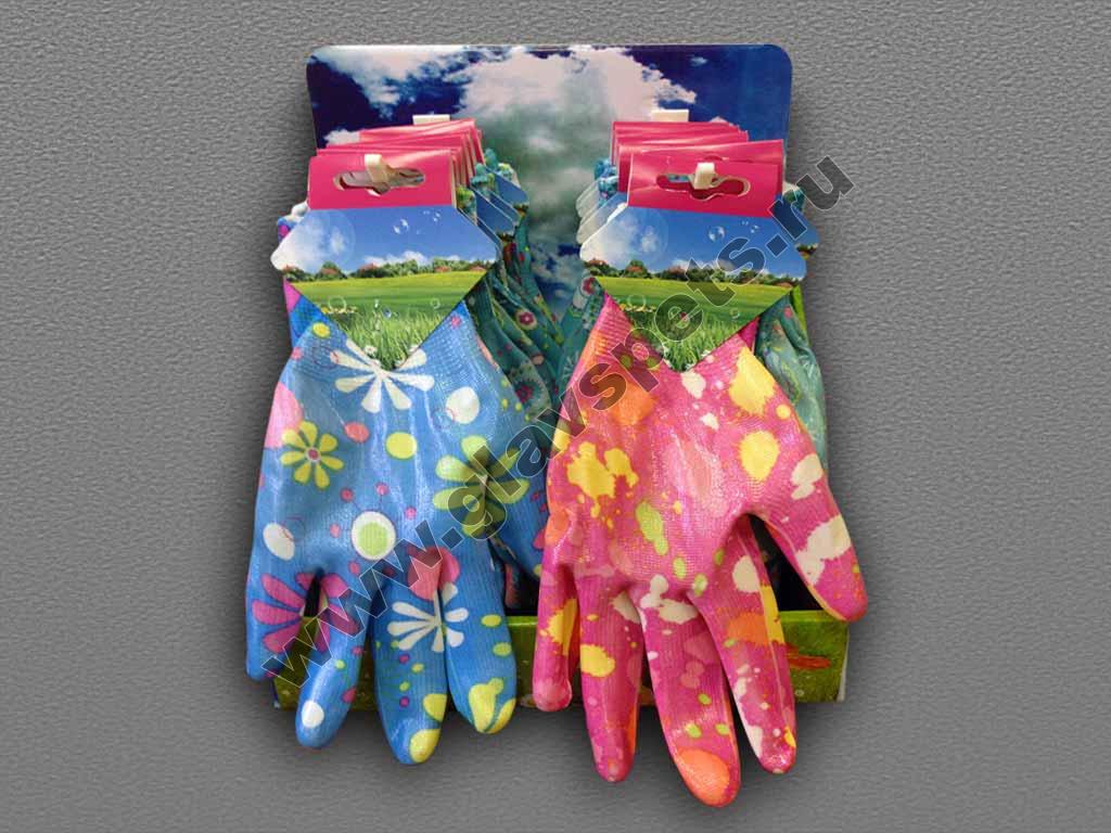 Перчатки нитриловые садовые (цветные)