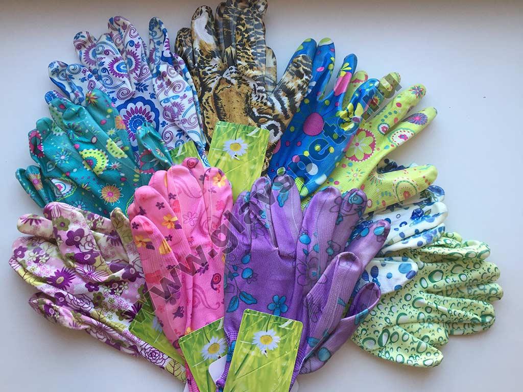 Перчатки нитриловые садовые цветные