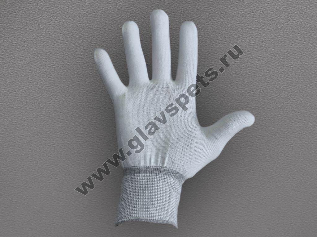 Перчатки нейлоновые антистатические белые, Главспец поставщик- производитель рабочих перчаток и рукавиц, купить перчатки хб с пвх цена производителя оптом