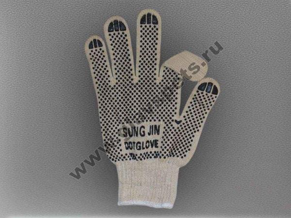 Перчатки ХБ с односторонним ПВХ с логотипом Sung Jin Dot Glove, купить оптом перчатки рабочие хб, Компания Главспец производитель рабочих перчаток Москва