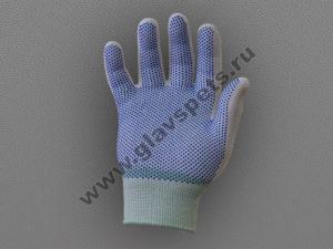 Перчатки нейлоновые антистатические с ПВХ белые, Компания Главспец поставщик-производитель рабочих перчаток рукавиц, купить перчатки пвх оптом хб со склада