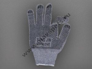 Перчатки Х/Б с двухсторонним ПВХ с логотипом Sung Jin Dot Glove серые по ценам производителя оптомв Москве, перчатки опт для работы купить трикотажные