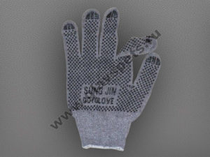 "Перчатки ХБ с двухсторонним ПВХ с логотипом ""SUNG JIN DOT GLOVE"" - цвет серый"