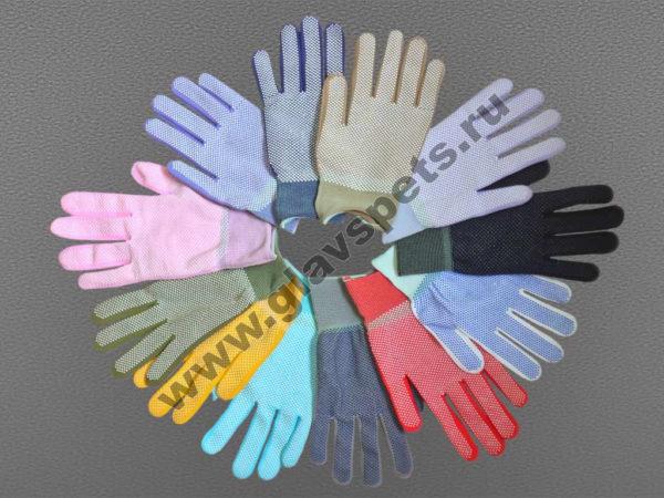 Перчатки нейлоновые антистатические с ПВХ цветные, перчатки рабочие оптом купить Москва с удобными условиями доставки заказа по всей России, выгодные цены