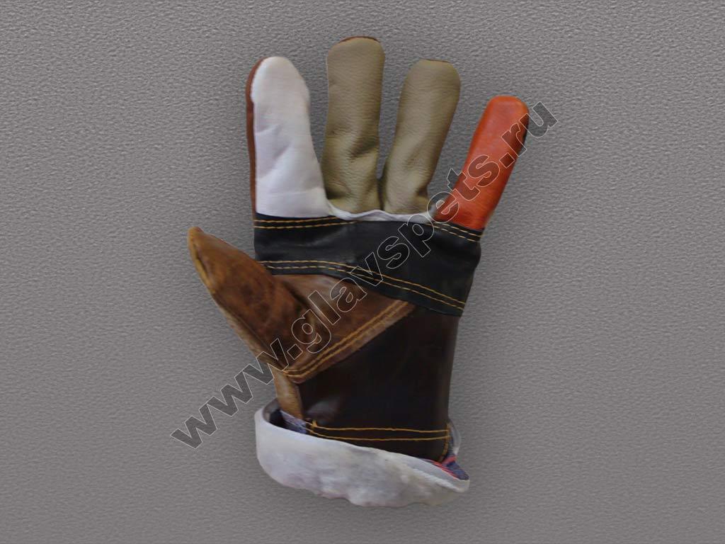 Перчатки кожаные комбинированные утепленные (Радуга)