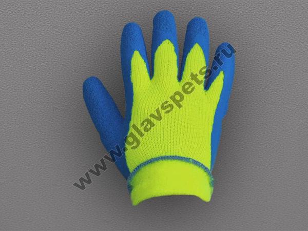 Перчатки акриловые с рифленым латексным покрытием утепленные оптом, минимальный заказ - коробка 120 пар, купить перчатки хозяйственные латексные Главспец
