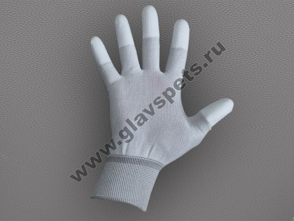 Перчатки нейлоновые антистатические с полиуретановым покрытием пальцев, купить нейлоновые перчатки с пвх по оптоывм ценам в Москве доставка по всей России