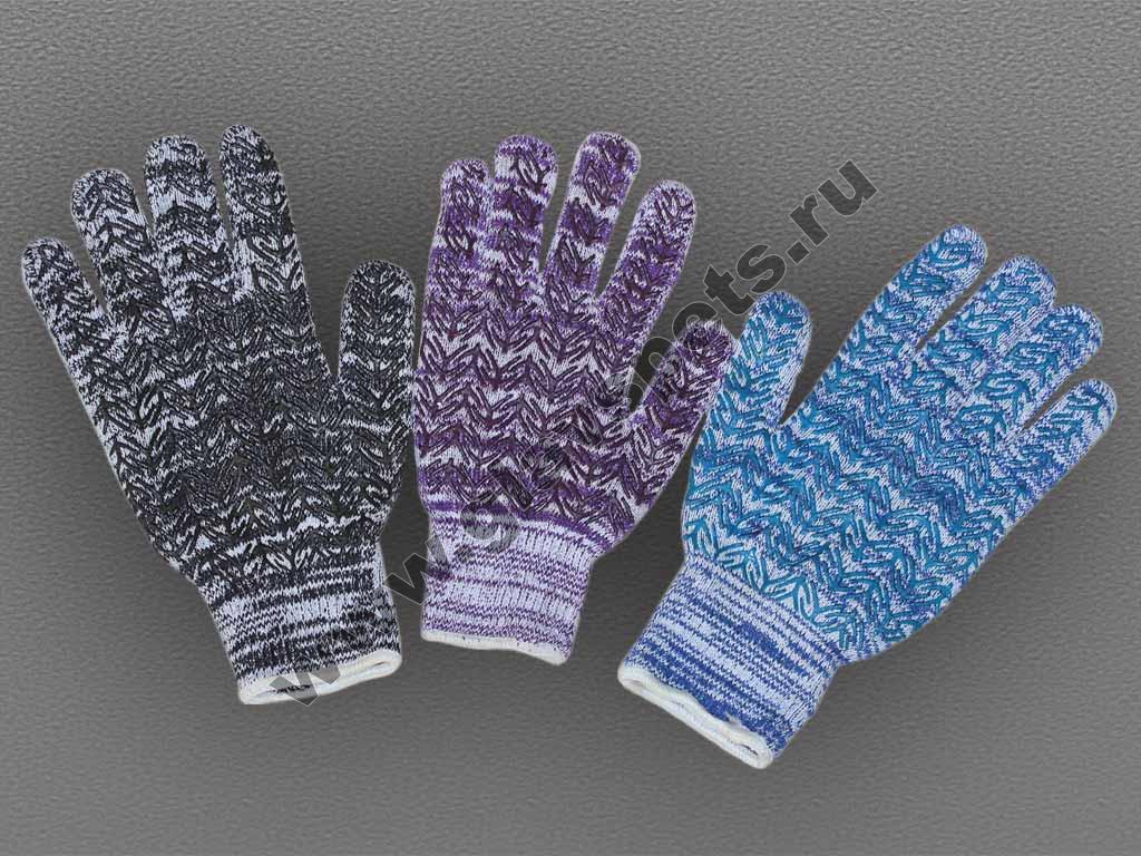Перчатки ХБ цветные с ПВХ Ёлочка по ценам производителя оптомв Москве доставка транспортной компанией купить перчатки трикотажные купить латекс пвх рабочие
