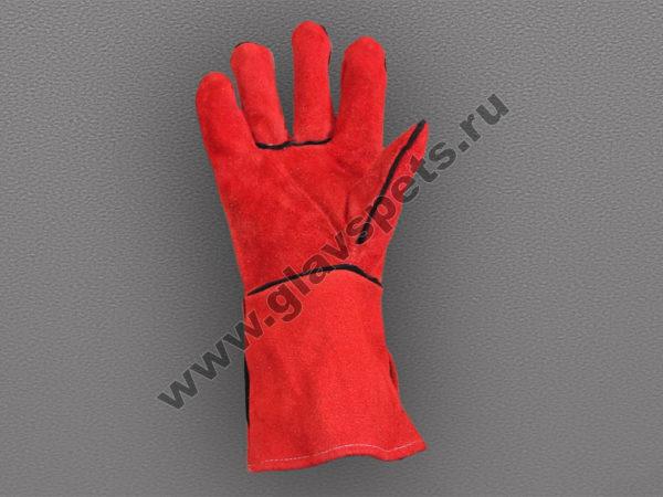 Краги спилковые красные пятипалые с подложкой (ТРЕК), купить перчатки рабочие утепленные, подробное описание, отзывы клиентов, удобная доставка скидки акции