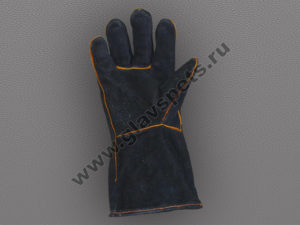 Краги спилковые пятипалые черные с подложкой, купитьоптомв Москве для защиты рук перчатки лучшие от поставщика- производителя рабочих перчаток и рукавиц