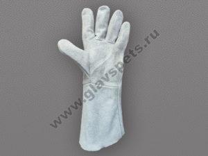купить по выгодной оптовой цене краги для сварщика пятипалые серые, купить перчатки спилковые оптом по распродаже доставка транспортной компанией по России