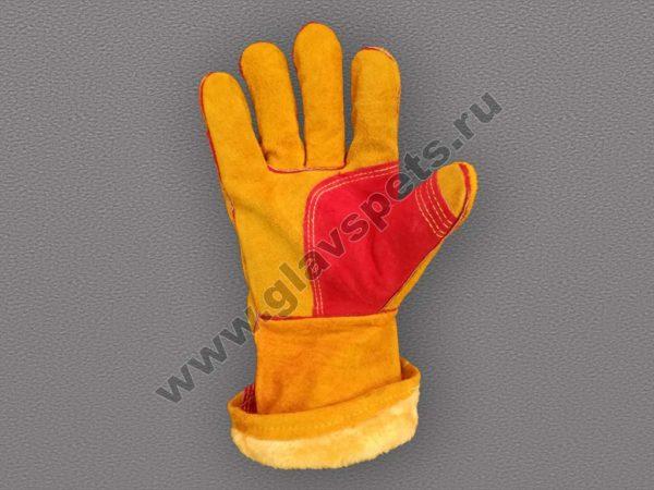 Краги спилковые пятипалые «Сибирь» с искусственным мехом, купить сварщика краги, производитель рабочих перчаток и рукавиц Компания Главспец в городе Москве