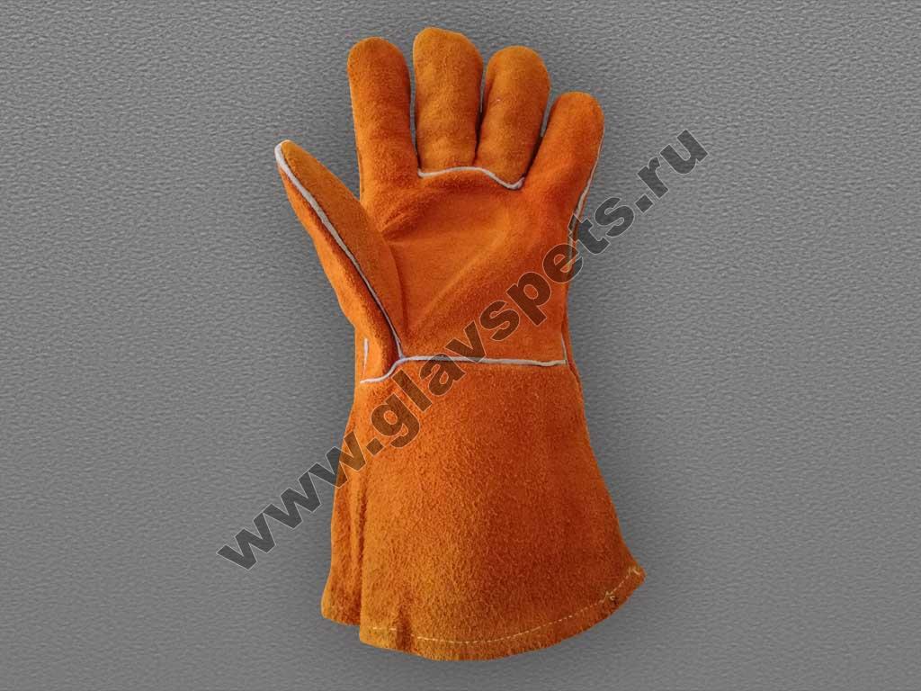 купить оптом краги спилковые пятипалые тип Трек с доставкой по России транспортной компанией, купить качественные перчатки рабочие подробные отзывы клиентов