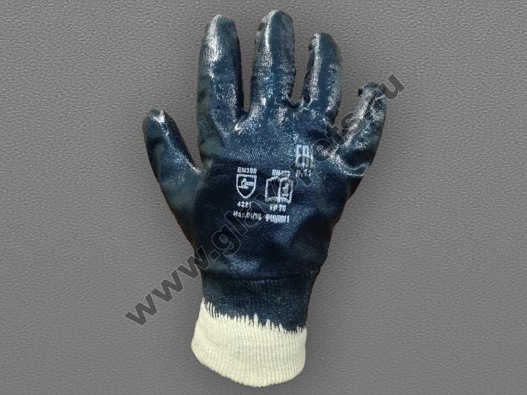 Перчатки с полным нитриловым покрытием манжет-резинка