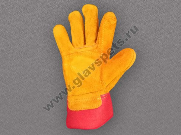 купить недорого оптом перчатки спилковые комбинированные Русские Львы, компания Главспец, купитьрабочие перчатки оптом, выгодные цены, доставка по России