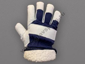 Перчатки кожаные комбинированные утепленные Хватка